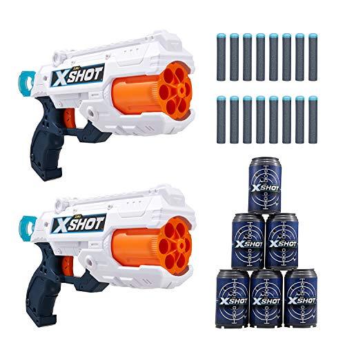 X-Shot Excel Double Reflex 6 Foam Dart Blaster Combo Pack (16 Darts 6 Cans) by Zuru