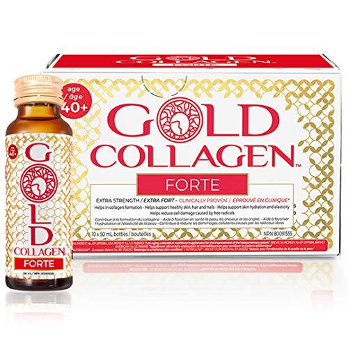 Gold Collagen Forte | El Complemento Antienvejecimiento de Colágeno Líquido| Bebida de colágeno marino con ácido hialurónico, antioxidantes, vitaminas y minerales para piel, cabello y uñas | 1