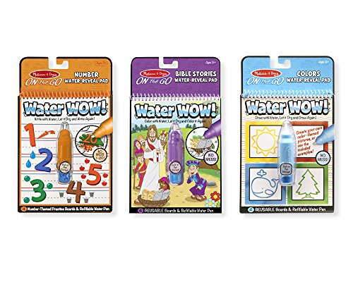 Melissa & Doug On the Go Water Wow! 3-Pack (The Original Reusable Coloring Books - Colors & Shapes, Numbers, Bible Stories - Great for Girls & Boys - Best for 3, 4, 5, 6, and 7 Year Olds)