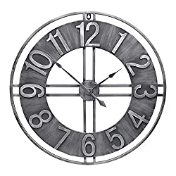 YIDIE 24 inch Large Wall Clock Decorative Metal Retro Oversized Clocks Decor for Home Farmhouse Living Room, A Black Hands Including