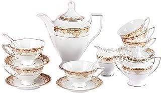 Porlien Exquisite 17-Piece Gold Tea Set Trimmed with Red, Porcelain, Service for 6, Gift Box