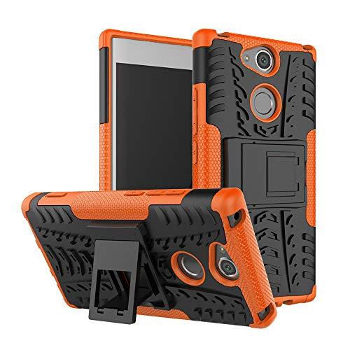 pinlu Funda para Sony Xperia XA2 (5.2 Pulgada) Smartphone Doble Capa Híbrida Armadura Silicona TPU + PC Armor Heavy Duty Case Duradero Protección Neumáticos Patrón Naranja