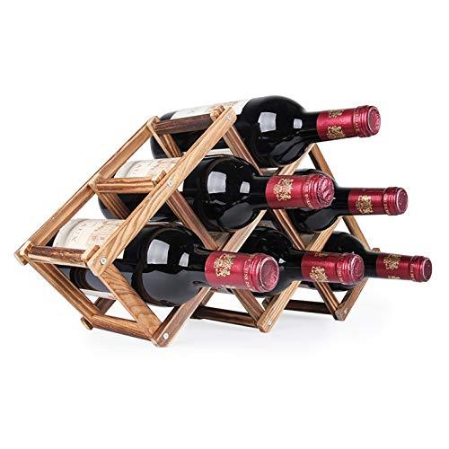 GGQQ JYWT AYSMG 6 Botellas Estantes Estante de exhibición de la Barra de la Cocina del Tenedor del Vino de Madera del Soporte del Vino Plegable (hornada del Carbono) (Color : Carbon Baking)