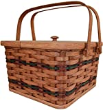 Amish Handmade Large Square Double Pie Carrier Basket with Inside Tray, Lid, and Two Swinging Carrier Handles. Possibility of Fresh Stain Odor, Will Need to Be Aired Out Upon Product Arrival. Colors May Vary.