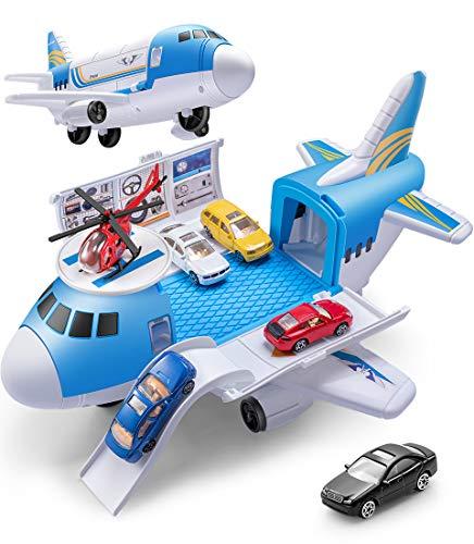 GeyiieTOYS Flugzeug-Spielzeug mit Auto Helikopter Zubehör Spielzeugautos Pilot Rollenspielzeug Oberteil zu Öffnen Flugzeugspielsets für Kinder