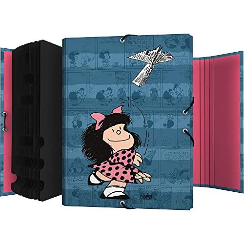 Mafalda 82212637. Clasificador, 12 Posiciones, Tamaño Folio, Cartón, Certificada FSC, Colección Mafalda, Avión