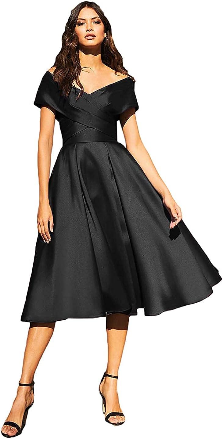 RUI QI Women's Off The Shoulder Prom Dresses A Line Satin Evening Dresses with Pockets,RQB143