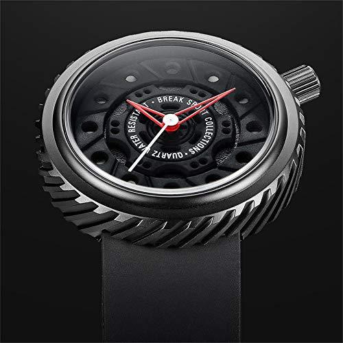 Break M728 - Reloj de pulsera para hombre, correa de goma, resistente al agua, cuarzo, casual, deportivo, con calendario, color negro