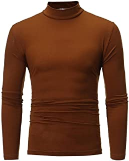 Solid Color Turtle Neck Slim Basic T-Shirt Long Sleeve T-Shirt Tee Coffee X-Large