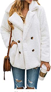 Guomao Women's Fashion Long Sleeve Lapel Zip Up Faux Shearling Shaggy Oversized Coat Jacket with Pockets (Color : White, Size : M)