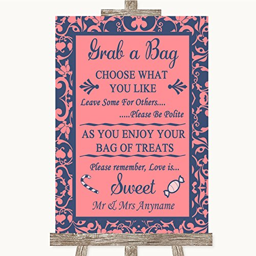 Bruidsbord Poster Print Koraal Roze & Blauw Pak Een Tas Snoep Buffet Winkelwagen Snoepjes Kan Volledig Aangepast Elke Wording Of Kleur - Perfect Venue Decoratie (A5) Small
