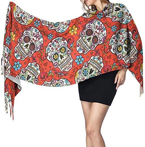 Bufanda de manta con chal, manta de cachemira para mujer, bufanda de invierno, abrigo cálido y acogedor, capa de chal de gran tamaño, calaveras de azúcar folclóricas de patio rojo 27 x 77 pulgadas