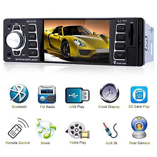 Bluetooth Radio de Coche 4.1'' HD,Reproductor MP3 MP4 MP5 con Entrada de Cámara de Visión Trasera,Autoradio Auto Estéreo Vídeo FM Radio USB/TF/AUX Entrada con Control Remoto