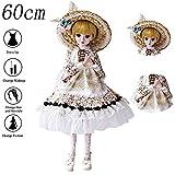 Muñeca BJD SD para niñas, muñeca de 23.6 pulgadas, 19 articulaciones princesa de la boda, zapatos, peluca, cabello, puede sentarse, vestir, niña, juguete, caja de regalo, set para regalos mayores de 3