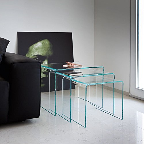 NEW MILAN SET OF 3 BENT GLASS NEST OF SIDE TABLES COFFEE SET CURVED