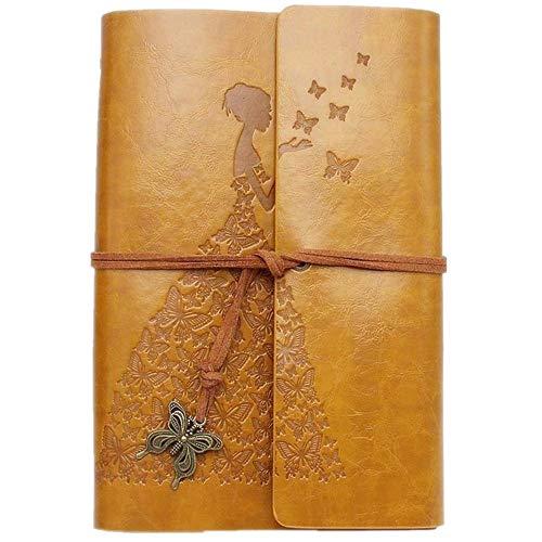 Leder-Tagebuch, Vintage-Stil, Spiralbindung, Skizzenbuch, nachfüllbar, Reisetagebuch zum Schreiben mit leeren Seiten für Frauen Mädchen Geschenke A6 gelb