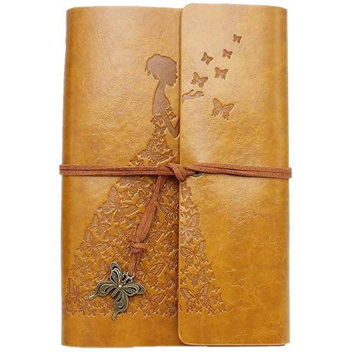 Leather Journal, MaleDen Vintage Spiral Bound Notebook Refillable Scrapbook Album Sketchbook to Write in with Blank Pages for Women Girls Gifts