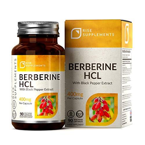 RS Berberin HCL 400mg mit schwarzem Pfefferextrakt – Schnell abnehmen – 90 vegane Kapseln – Immunstärkender Fettverbrenner, regelt Blutzuckerspiegel & Stoffwechsel– Ohne GVO, Gluten und Allergene