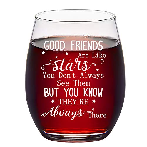 Good Friends Are Like Stars Wine Glass, Friendship Stemless Wine Glass 15Oz for Women, Her, Girls, Best Friends, Sisters, Soul Sister - Great Ideas for Birthday, Christmas, Galentine's Day