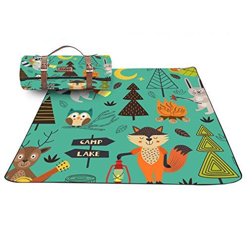 X-Labor Kinder Lustig Picknick Decke 200x200 cm Leder Gurt mit wasserdichter PEVA Unterseite Outdoor Stranddecke Campingdecke Motiv-E
