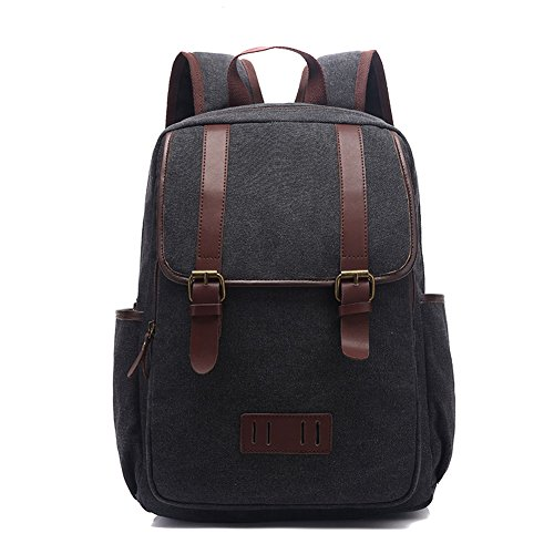 MiCoolker Retro Canvas Backpack Casual Sports Messenger Bag Portable Chest Bag Cute Light Mini Bag for Women Black