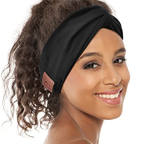 Bluetooth Headband for Women, HD Speakers Bluetooth 5.0 Wireless Headband Headphones, Fashion Black Head Band with Knotted/Twist Design for Yoga, Workout, Running, Sports, Gift (Black)