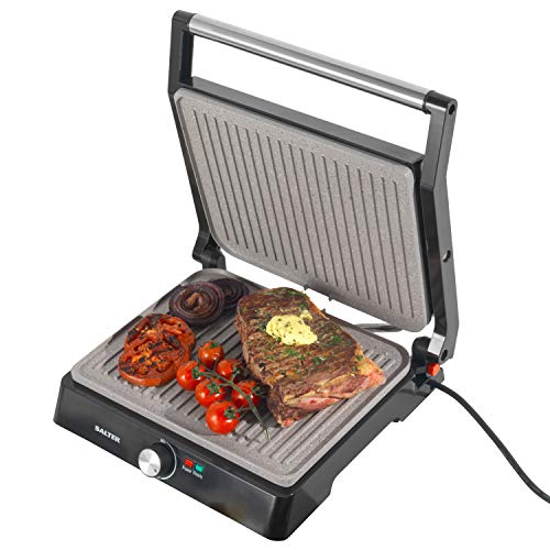 Salter EK4076 Marblestone XL Health Grill and Panini Maker | Marble Effect Non-Stick Coating | 2200 W | A Healthier Alternative for Low Fat Cooking, Stainless Steel