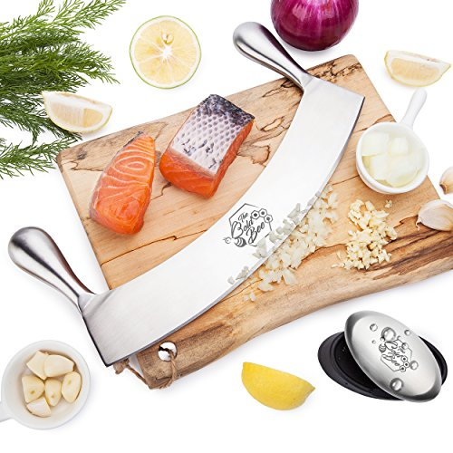 "The Bold Bee's 12"" Stainless Steel Mezzaluna Knife with Cover & FREE Stainless Steel Soap Bar 
