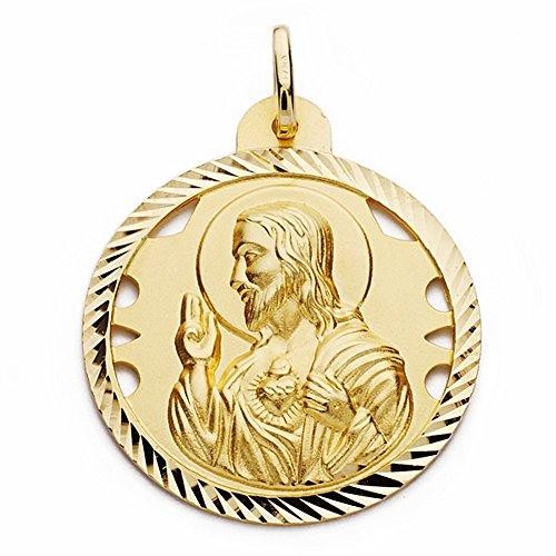 Medalla Oro 18K Corazón De Jesús 30mm. Calada Cerco Tallado [Aa2501Gr] - Personalizable - Grabación Incluida En El Precio