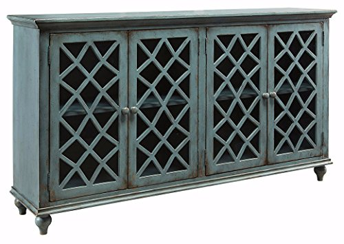 Signature Design by Ashley - Mirimyn Accent Cabinet - 4-Door - Vintage Casual - Antique Teal
