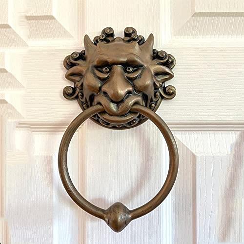 dfdfd Llamador de puerta de Labyrinth, de bronce antiguo, aldaba para puerta de casa, aldaba de latón antiguo, aldaba para puerta de casa, decoración creativa (A+B)