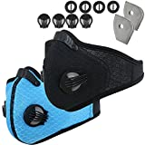Infityle Dustproof  Masks - Activated Carbon Dust Mask with Extra Filter Cotton Sheet and Valves for Pollution,Anti Pollen Allergy, PM2.5, Running, Cycling,Woodworking,Outdoor Activities(Black+Blue)