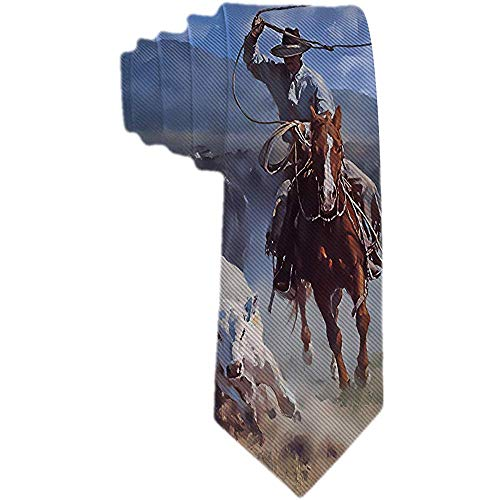 Corbata de seda de poliéster con corbata de toro Coeboy para hombre