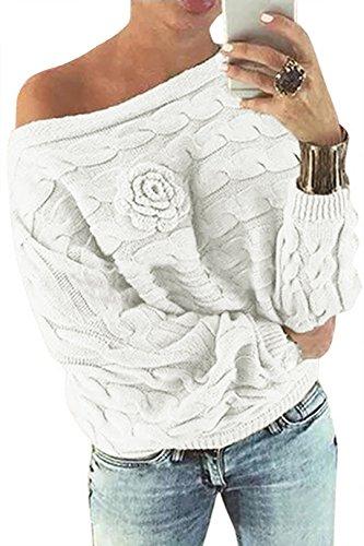 YOINS Schulterfrei Oberteile Damen Herbst Winter Off Shoulder Pullover Pulli für Damen Loose Fit mit Blumenmuster Weiß XL