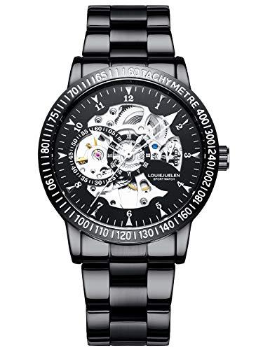 Reloj de Pulsera Acero Inoxidable Mecánico Automático Impermeable para Hombre (Negro/Negro/Negro/Plata)