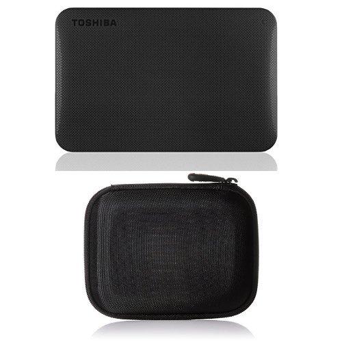 Toshiba Canvio Ready 1TB Externe Festplatte (6,4 cm (2,5 Zoll) USB 3.0) schwarz & Amazon Basics Festplattentasche, schwarz