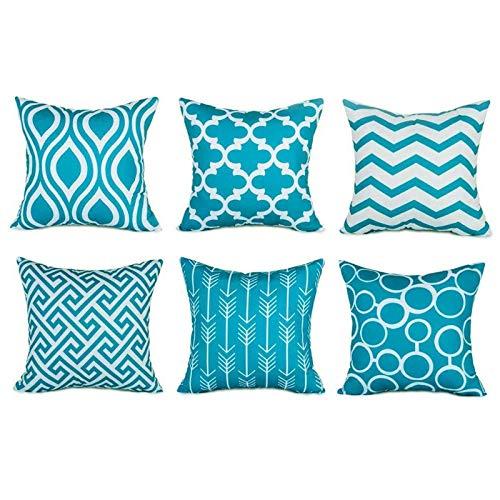 KOMOSO Funda de almohada geométrica azul moderna clásica impresión abstracta cojín algodón lino 6 piezas