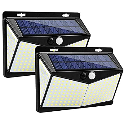 Solar Lights Outdoor 208 LED,3 Modes Wireless Motion Sensor Lights,Solar Powered Security Flood Lights,270° Wide Angle IP65 Waterproof,Solar LED Light for Wall Fence Yard Garage Deck Pathway(2 Pack)