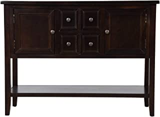 Romatlink Antique Retro Sideboard, Vintage Kitchen Sideboard, Buffet Cabinet Locker with 4 Drawers and Underframe, Restaurant Server Table, Console Table, Kitchen Foyer Home Furniture (Espresso)