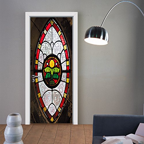 Eyinger deur muurschildering, glas in lood trap 3D deur Sticker afneembare waterdichte zelfklevende muurschildering woonkamer slaapkamer deur renovatie kunst behang