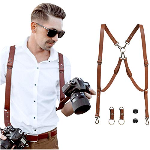 HOMELEX Multi Cameras Dual Shoulders Genuine Leather Harness Vintage Camera Neck Strap (Brown)
