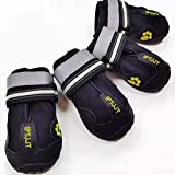 IPTJJT Dog Boots Waterproof Shoes for Dogs with Rugged Anti-Slip Sole, Reflective Strips for Indoor & Outdoor 4PCS