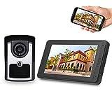 OWSOO 7'' Videoportero WiFi Cableado, Cámara 1000TVL Impermeable + LCD Monitor, Control Remoto de App, Audio Bidireccional, Visión Nocturna, Intercomunicador Manos Libres, Registro de Visitante