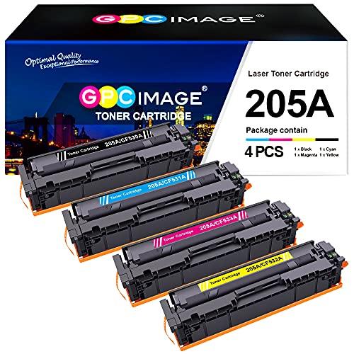GPC Image Pack de 4 cartuchos de tóner de repuesto para HP 205A CF530A para Color Laserjet Pro MFP-M181fw M181n, MFP M180n M180nw M180fw, M154a M154nw (negro, cian, amarillo y magenta)