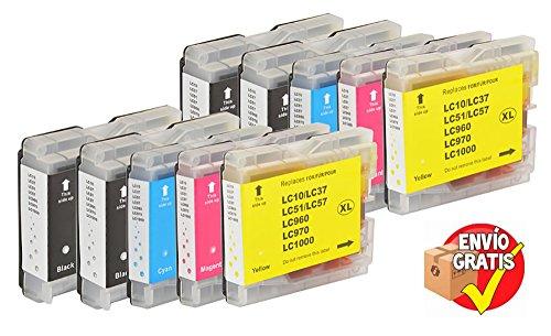 Oferta Pack 10 Cartuchos Genéricos para Brother LC1000 LC970 LC1000BK LC1000Y LC1000 C LC1000 M LC970BK LC970Y LC970 C LC970 M Envío Gratis