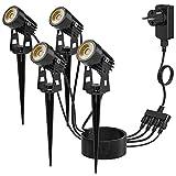 Kohree 4pcs Foco Proyector Exterior Foco con Espiga 3W COB LED Impermeable IP65 blanco cálido LED Lámpara de Césped con Pinchon Focos de Jardín Decoración para Suelo Caminos [Clase energética A+++]