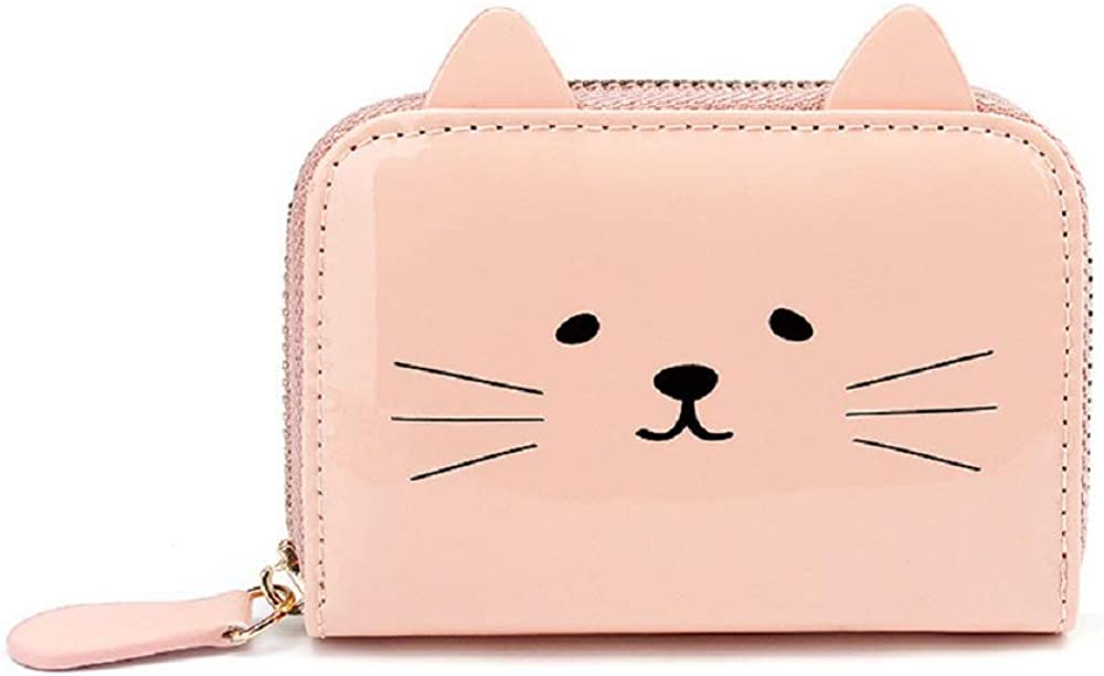 JIUFENG Women's Wallet RFID Blocking Cute Cat Printed Zipper Coin Purses Multi Purpose Card Holder Fashion Small Wallet