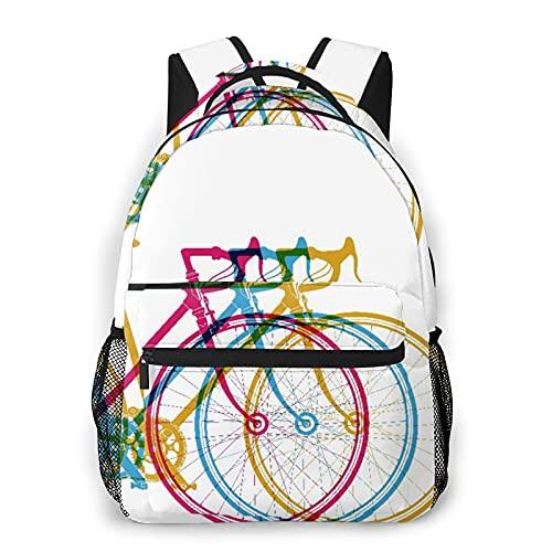 MEJX Mochila Paquete de Almacenamiento,Ciclo de bicicletas abstractas en blanco divertido carrera de bicicletas,Casual Bolsa de Estudiantes de la Escuela Mochila Portátil de Viaje