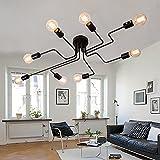 Vintage Lámpara de Techo en Metal con 8 Luces E27, Iluminación de Techo Industrial Negro Lámparas de Araña para Dormitorio Sala de Estar Cocina, Sin Bombilla