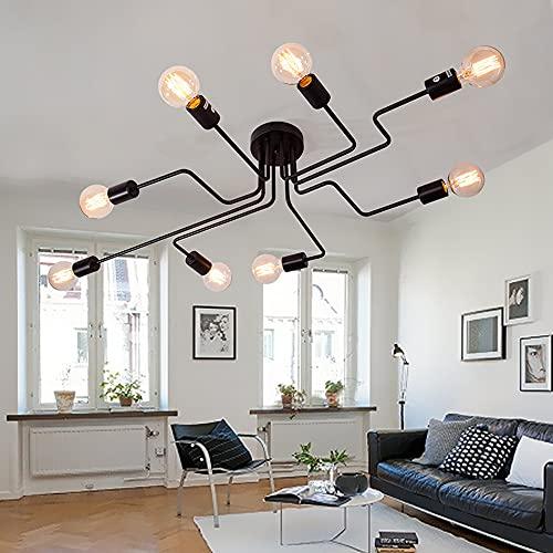 Vintage Lámpara de Techo en Metal con 8 Luces E27, Iluminación de...